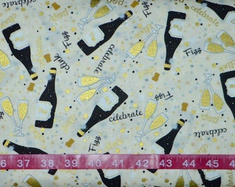 Benartex. Celebration. Lets Toast Cream - BTY Cotton Fabric - Choose your cut