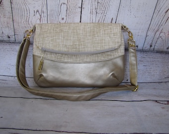 Gold Fressia Fold Over Bag