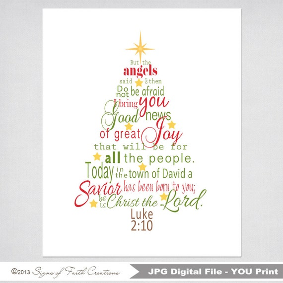 Items similar to christmas tree printable scripture art with luke 2 items similar to christmas tree printable scripture art with luke 2 bible verse in green and red instant download christmas gift wall art m4hsunfo Choice Image
