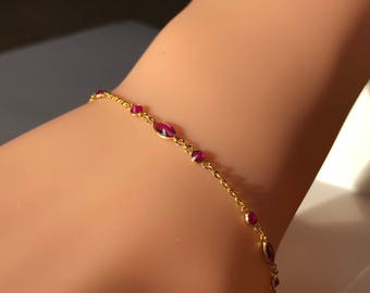 A very Delicate Ruby And Gold Bracelet with adjustable length