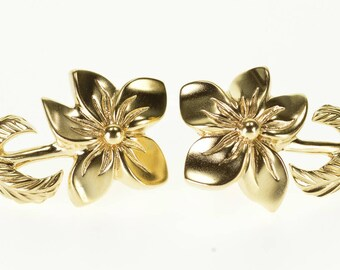 14k Stylized Flower Petal Stem Leaf Floral Design Earrings Gold