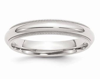 Sterling Silver .925 4mm Comfort Fit Milgrain Men's and Women's Wedding Band Ring Thumb/ Knuckle/ Toe Rings Sizes 4-14 U.S made.