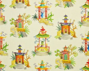 CLARENCE HOUSE ENCHANTED Pagodas Chinoiserie Toile Linen Fabric 10 Yards Beige Multi