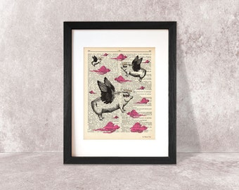 Flying Pigs print-Pigs print-Funny animal print-Pig on book page-Flying Pigs dictionary print-children wall art-pig print-NATURA PICTA-DP059