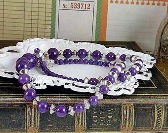 Handmade Purple Mountain Jade & Silver Necklace