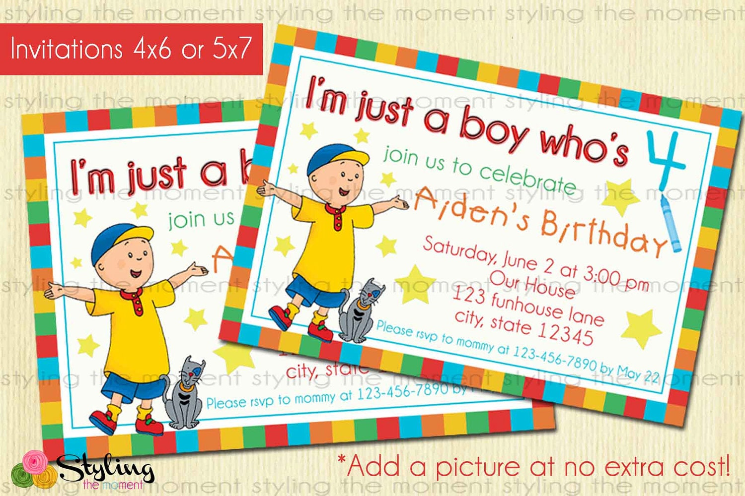 Caillou party invitations choice image invitation templates free caillou party invitations stopboris Gallery