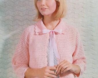 Ladies Bedjacket, Crochet Pattern. PDF Instant Download.