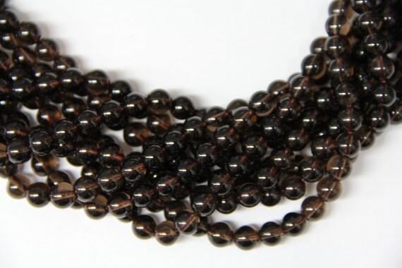 """Natural Smoky Quartz 8mm smooth round beads 16"""" length strand"""