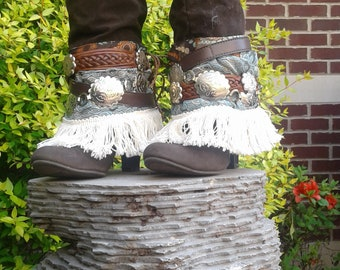 Boho Boot Covers;Gypsy boot cuffs; Bohemian shoe spats;blue;brown; Silver cabochon; Cowboy boot boho covers