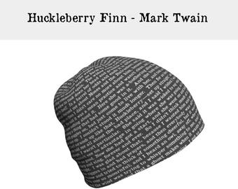 HUCKLEBERRY FINN, Mark TWAIN, Literary Gifts, Slouchy Beanie Hat, Gifts for Readers, Book Clothing, Gift for Book Lover, Writer Gift