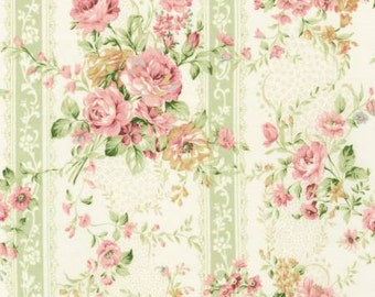 Emma 2 Collection   by From Robert Kaufman Sage Floral On Stripe   SRK672334