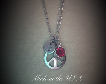 Peace sign necklace,Birthstone necklace,Personalized jewelry,Swarovski birthstone,Charm necklace,Friendship necklace,Gift,Gift for her,