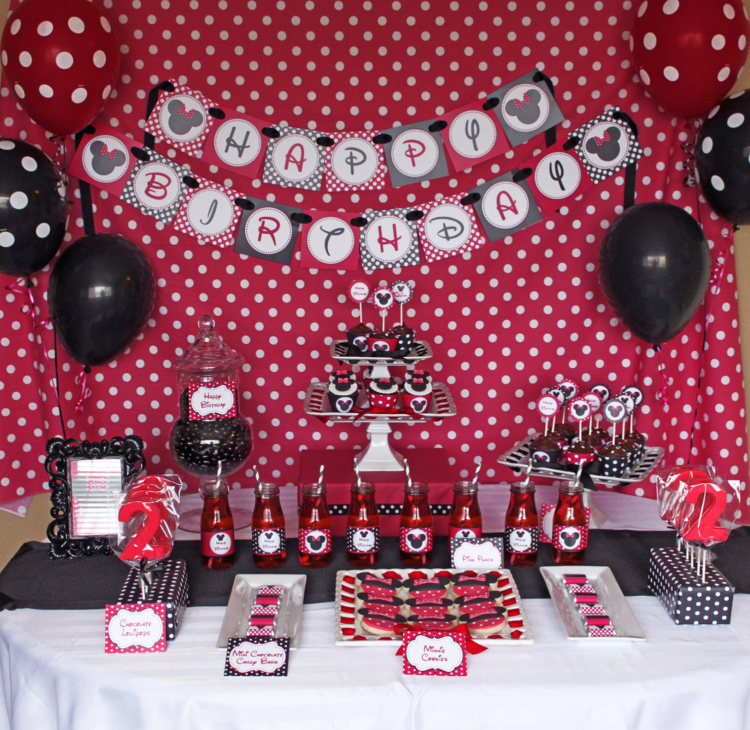 Minnie Mouse Red Deluxe birthday party package PRINTABLE red