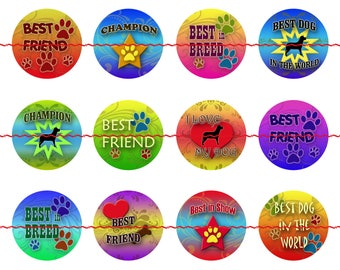 Bright Dog Pinback Buttons or Magnets, 1 Inch, 5 or 12 ct sets, Man's Best Friend Pins, Best Breed Magnets, Love my Dog Pins