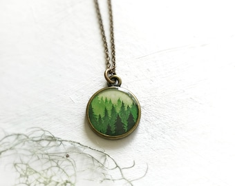 Big Forest Necklace, Tree Jewelry, Forest Green Pendant, Hiking Necklace, Adventure Nature Woodland Jewelry