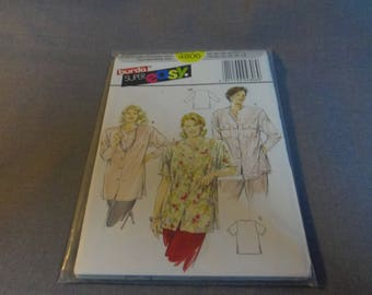 Womens Loose Fitting Shirt, Size 18, 20, 22, 24, 26, 28 (44 to 54) Uncut Pattern, Burda Super Easy 4806, Sealed package
