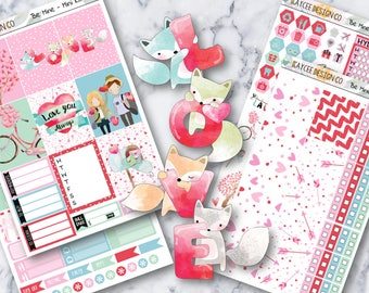 MINI Weekly Kit / Be Mine / Planner Stickers / Erin Condren Life Panner / Vertical / Valentine's Day / Watercolor / Hand Drawn