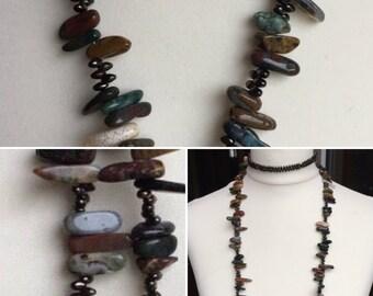 Agate Necklace, Ocean Agate Lariat, Agate Nugget Beaded Lariat, Scottish Jewellery, U.K. Edinburgh jewellery