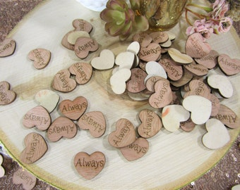 "100 ""Always"" Hearts ~ 1"" Wood Hearts ~ Wedding Decor ~ Wedding Confetti ~ Wooden Confetti ~ Wedding Invitations ~ Summer Wedding"