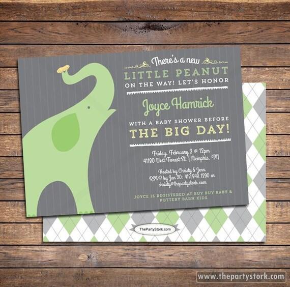 Gender Neutral Baby Shower Invitation Elephant Theme