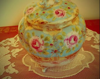 Vintage Light Blue Floral Ginger Jar