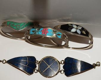 Taxco Mexico Abalone Shell  & Lapis Lazuli Inlaid Hinged Bangle Bracelet.