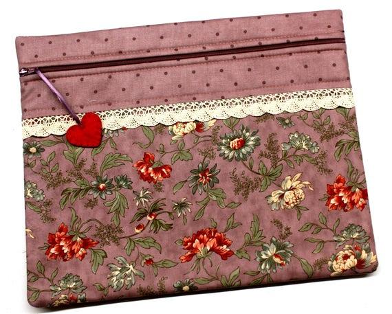 Purple Prim Floral Cross Stitch Embroidery Project Bag