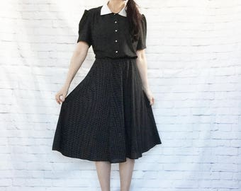 Vintage 80s Does 40s Black White Collar Polka Dot Swing Midi Dress XL Puff Sleeves