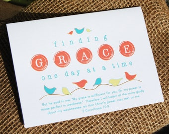 note card set . Finding Grace with 2 Corinthians 12:9 and Birdies . 6, 4x5 folded cards (blank on the inside) with envelopes