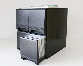 80s 90s black ash dvd storage drawer unit