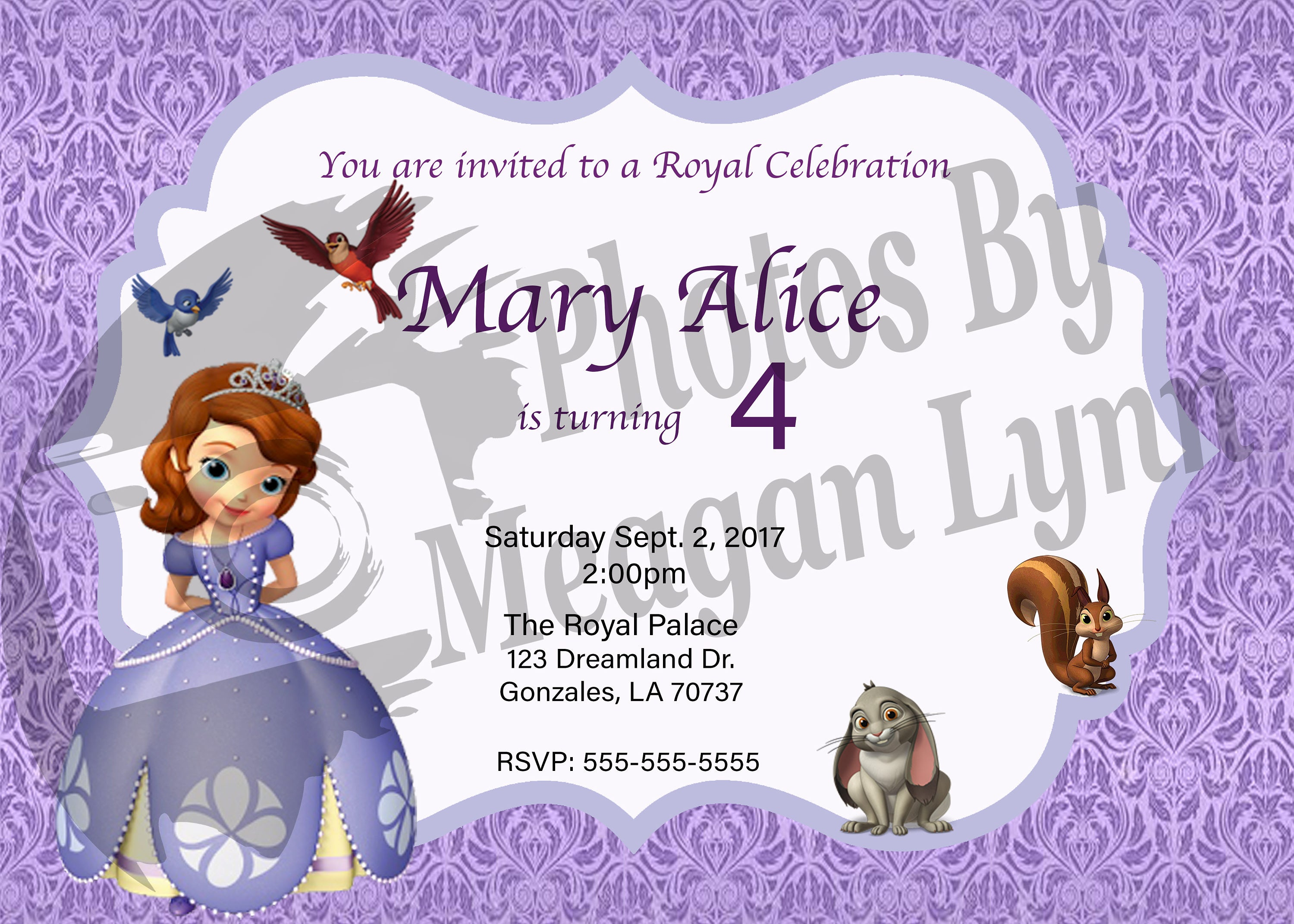 Sofia The First Birthday Invitation DIGITAL