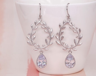 Laurel Wreath Earrings. Clear cubic zirconia Teardrop, silver Long Earrings. Wedding Bridal, Bridesmaid Gift, Christmas Wife E296