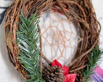 Christmas Dreamcatcher Wreath, Dream Catcher, Winter, Holiday, Bohemian, Yule, Poinsettia, Pine Cone, Pine, Grape Vines