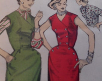 Vintage 1950's Advance 7025 Jumper Dress and Blouse Sewing Pattern Size 16 Bust 34