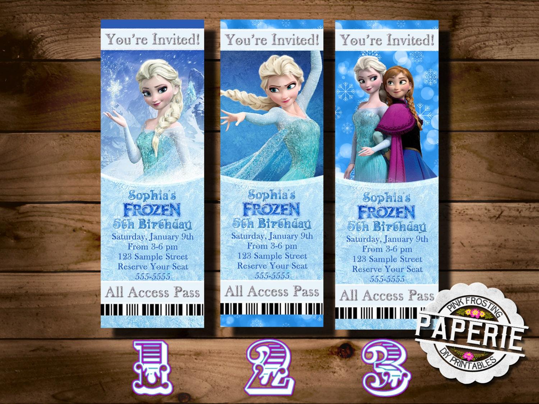 FROZEN PRINTABLE Movie Ticket INVITATION Custom Frozen