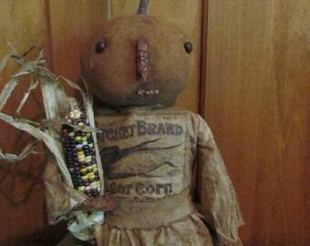 Primitive Pumpkin Doll and Corn Label PDF EPattern ~ Sweetpeas Primitives