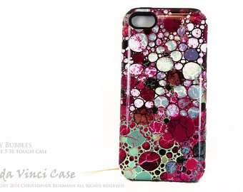 Abstract iPhone 5s SE Tough Case - Berry Bubbles - Artistic iPhone 5s Cover - Two Piece Dual Layer Protection Apple iPhone Case