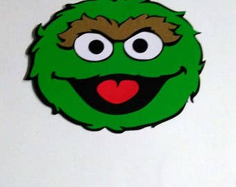 Set of 10  5' Oscar the Grouch die cuts, Oscar the Grouch cut out, Oscar the Grouch scrapbooking