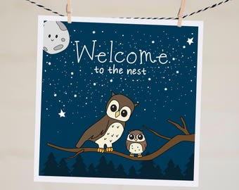 Funny New Baby Card | Owl Baby Shower Card New Baby Gift | Woodland Baby Shower Baby Boy Card Handmade Illustration Gift New Parents Card |