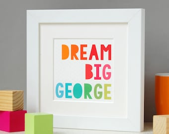 Dream Big Framed Print Personalised Keepsake - New Baby Print - Personalised Nursery Artwork - Inspirational Quote Print - Framed Keepsake