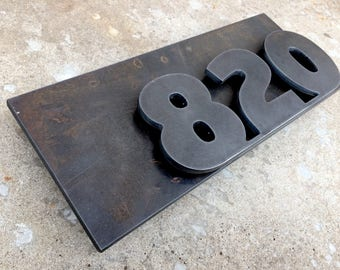 Floating Raw Metal House Number Address Plaque Plate iron steel industrial architectural modern rustic art deco minimal design