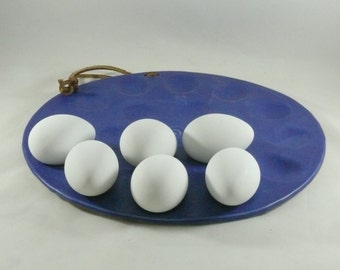 Deviled Egg Plate, Egg Holder, Serving Dish, Handmade Cobalt Blue Platter for eggs, oysters clams, appetizers, Oyster Plate, Easter Egg Dish