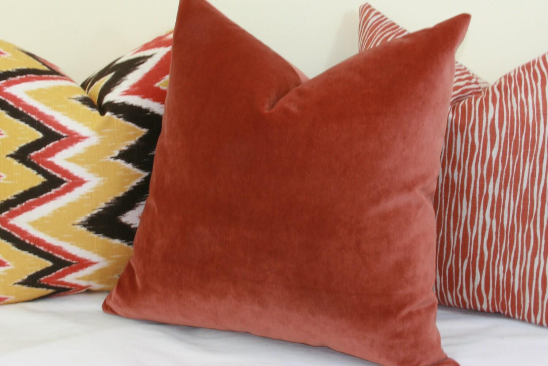 Rust velvet throw pillow cover 18x18 18x18 18x18 18x18 18x18