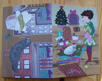 10 Cards - Dual-Holiday Card for Hanukkah and Christmas - Pigeon Eating Noodles - Woman and Cat Wrap Gifts - 2 Holidays in One Greeting Card