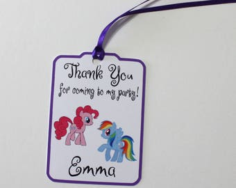 Pony Thank You Party Favor Tags, My Little Pony Personalized Birthday Party Favors Tags Thank You Gift Tags, Party Supplies