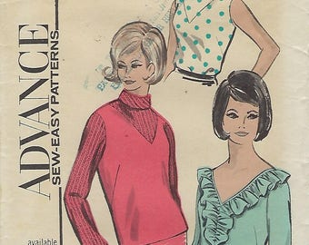 """Advance Sew-Easy Patterns 3563  Misses' Blouse 3563  Size 12  Bust 32"""""""