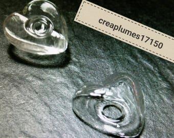 Set of 2 half globe heart 23mm