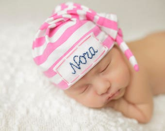 newborn baby personalized hat, baby shower gift, hospital hat, newborn photo prop, baby monogrammed hat, knot hat with name, baby girl gift
