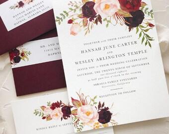 Winter Burgundy Blush Wedding Invitations for Rustic Boho Wedding