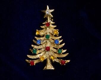 Vintage Pin Designer Signed Rafaelian Xmas Christmas Tree Brooch Multi-Color Rhinestone Lights Holiday Estate Jewelry 1960's